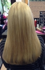 After having hair extensions added, back view